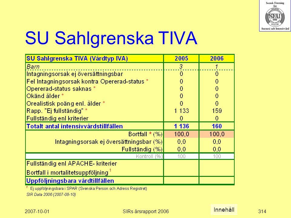 SU Sahlgrenska TIVA Innehåll 2007-10-01 SIRs årsrapport 2006