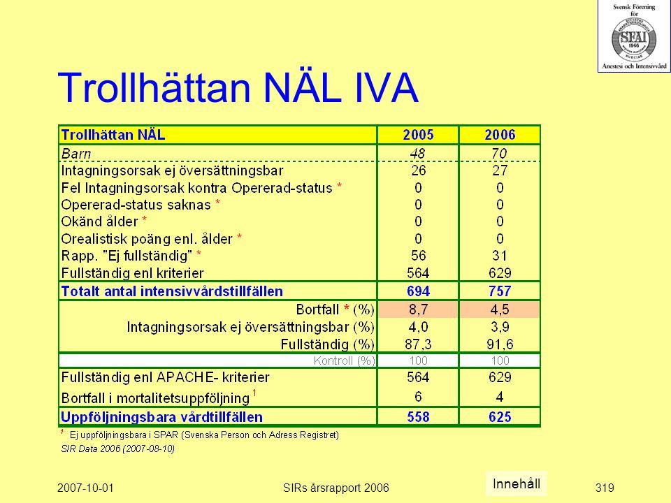 Trollhättan NÄL IVA Innehåll 2007-10-01 SIRs årsrapport 2006