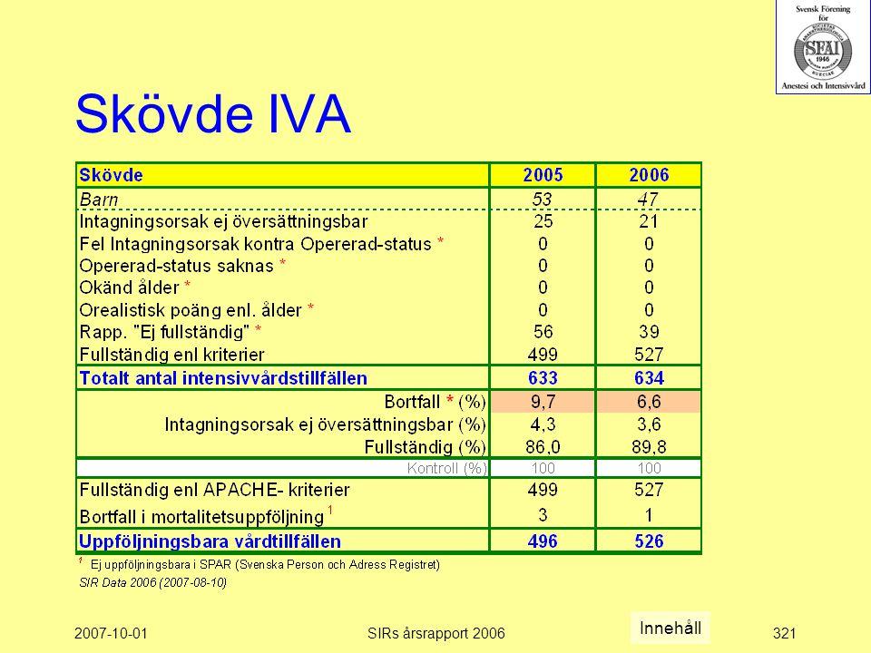 Skövde IVA Innehåll 2007-10-01 SIRs årsrapport 2006