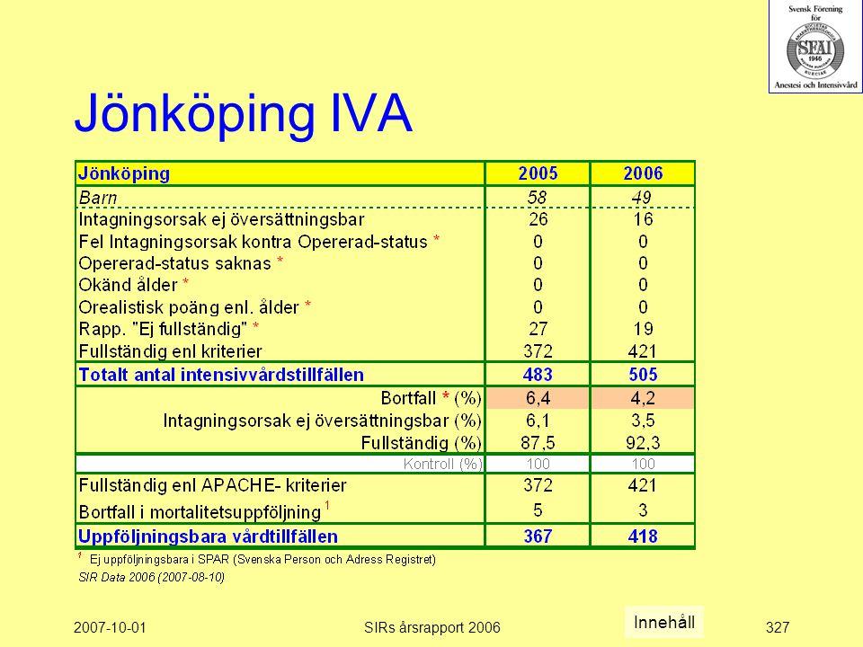 Jönköping IVA Innehåll 2007-10-01 SIRs årsrapport 2006