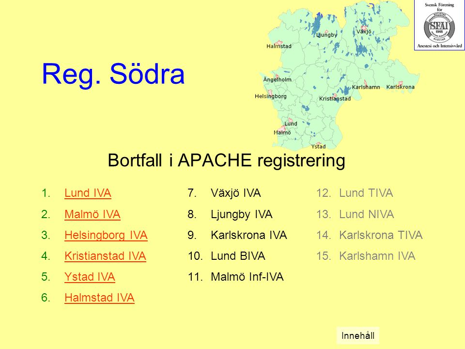 Bortfall i APACHE registrering