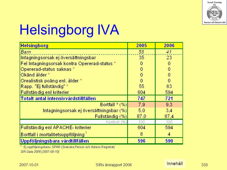 Helsingborg IVA Innehåll 2007-10-01 SIRs årsrapport 2006