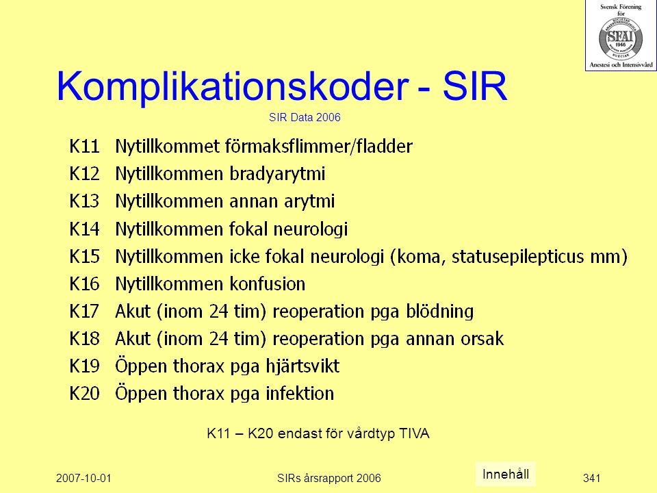 Komplikationskoder - SIR