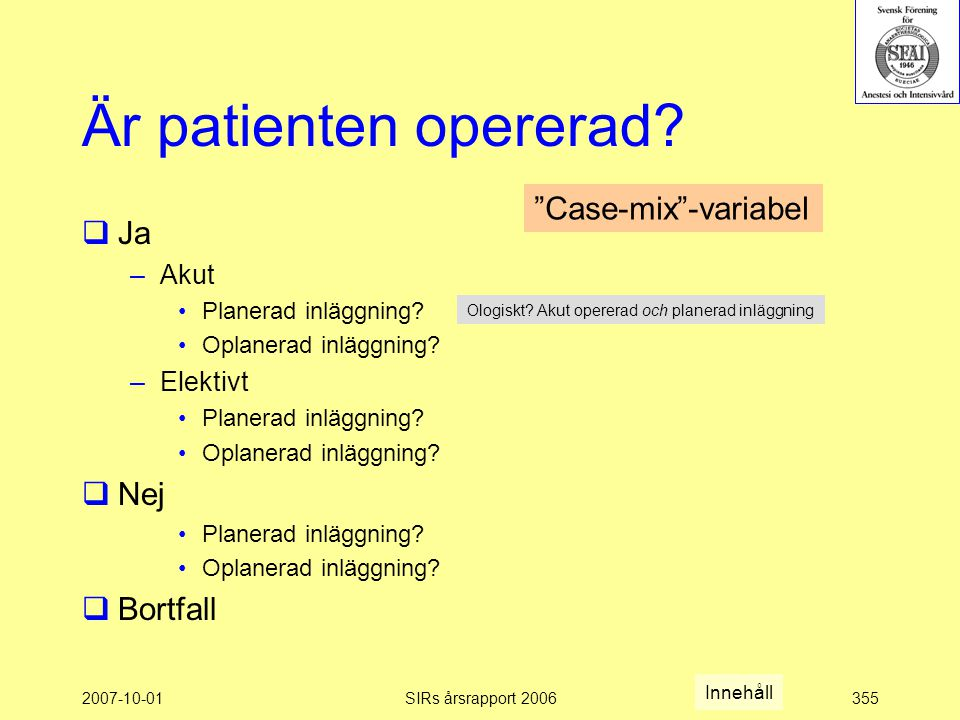 Är patienten opererad Case-mix -variabel Ja Nej Bortfall Akut