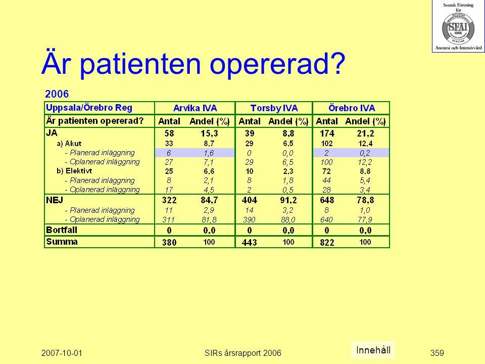 Är patienten opererad 2006 Innehåll 2007-10-01 SIRs årsrapport 2006
