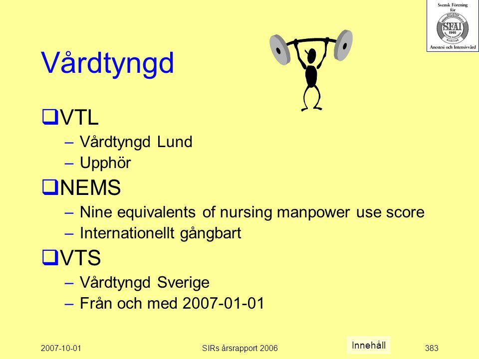 Vårdtyngd VTL NEMS VTS Vårdtyngd Lund Upphör