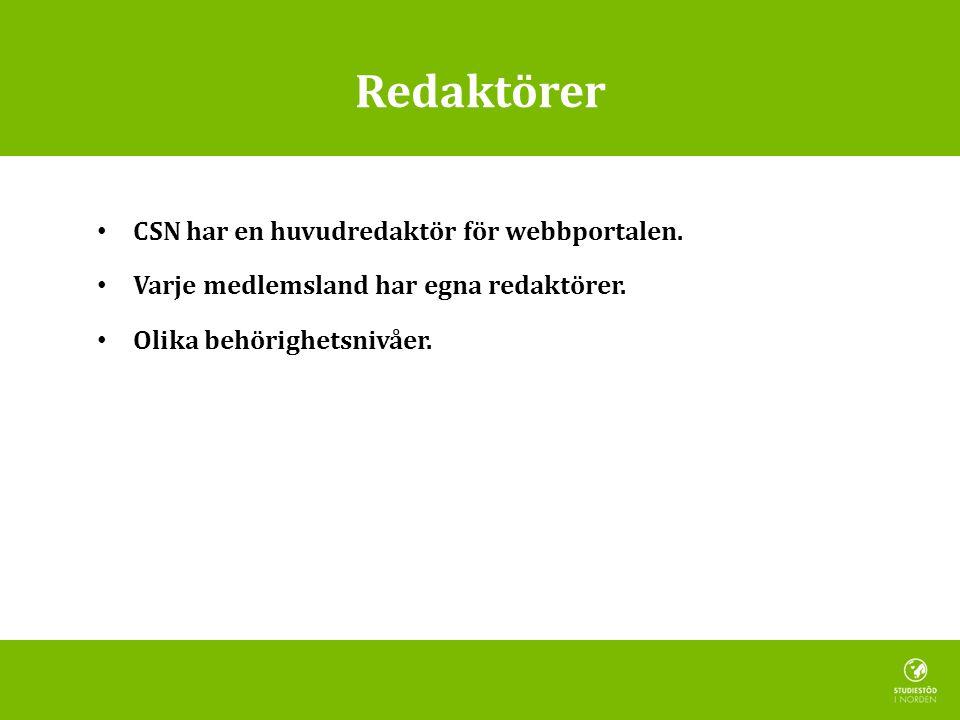 Redaktörer CSN har en huvudredaktör för webbportalen.
