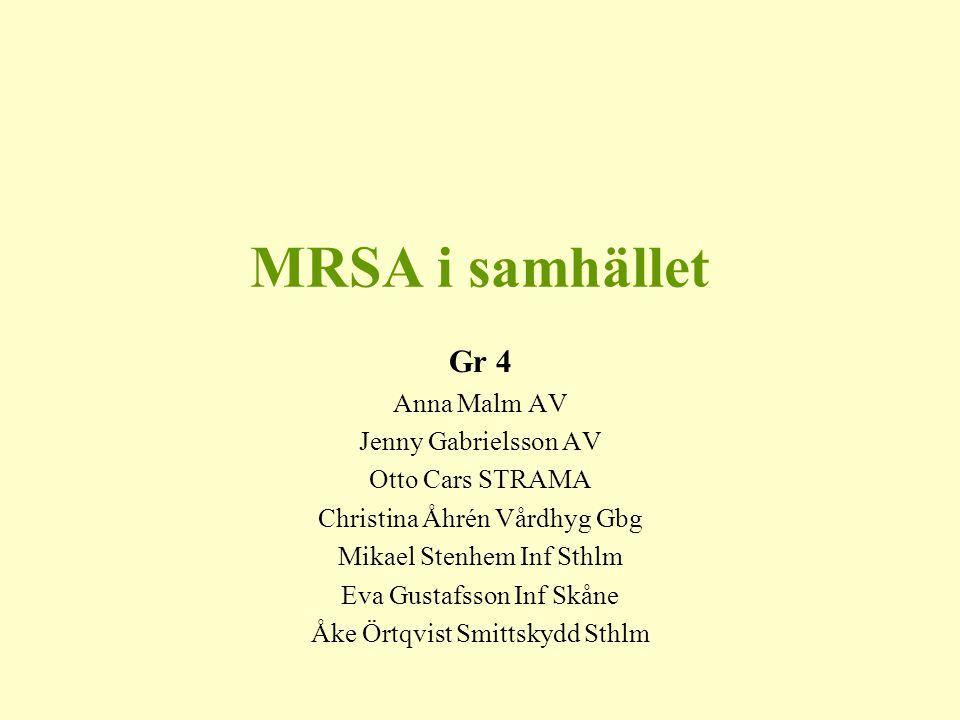 MRSA i samhället Gr 4 Anna Malm AV Jenny Gabrielsson AV
