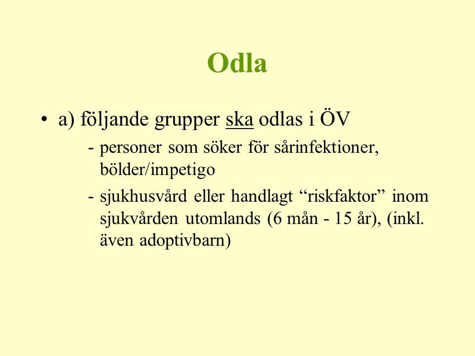 Odla a) följande grupper ska odlas i ÖV