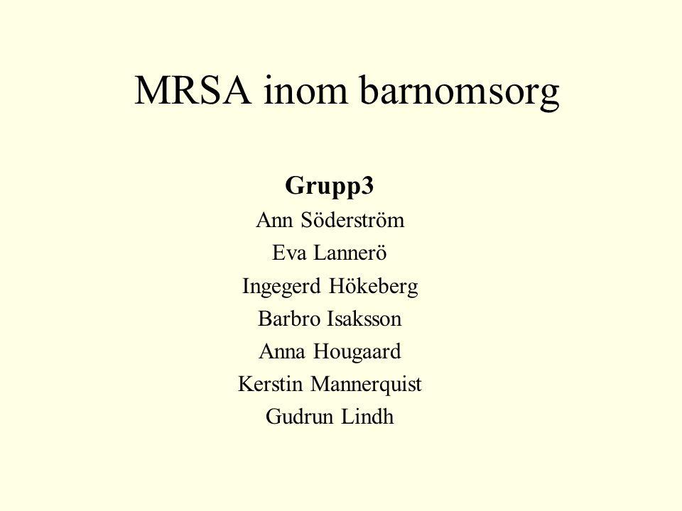 MRSA inom barnomsorg Grupp3 Ann Söderström Eva Lannerö