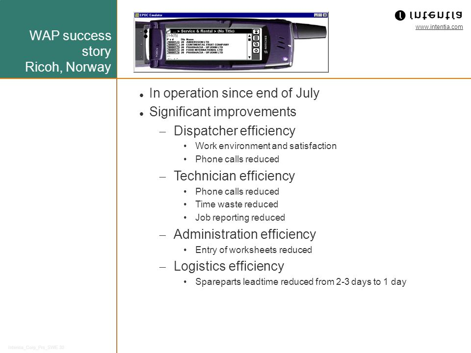 WAP success story Ricoh, Norway