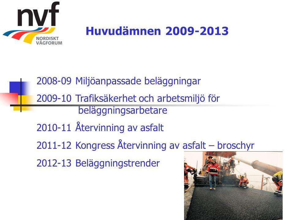 Huvudämnen 2009-2013 2008-09 Miljöanpassade beläggningar