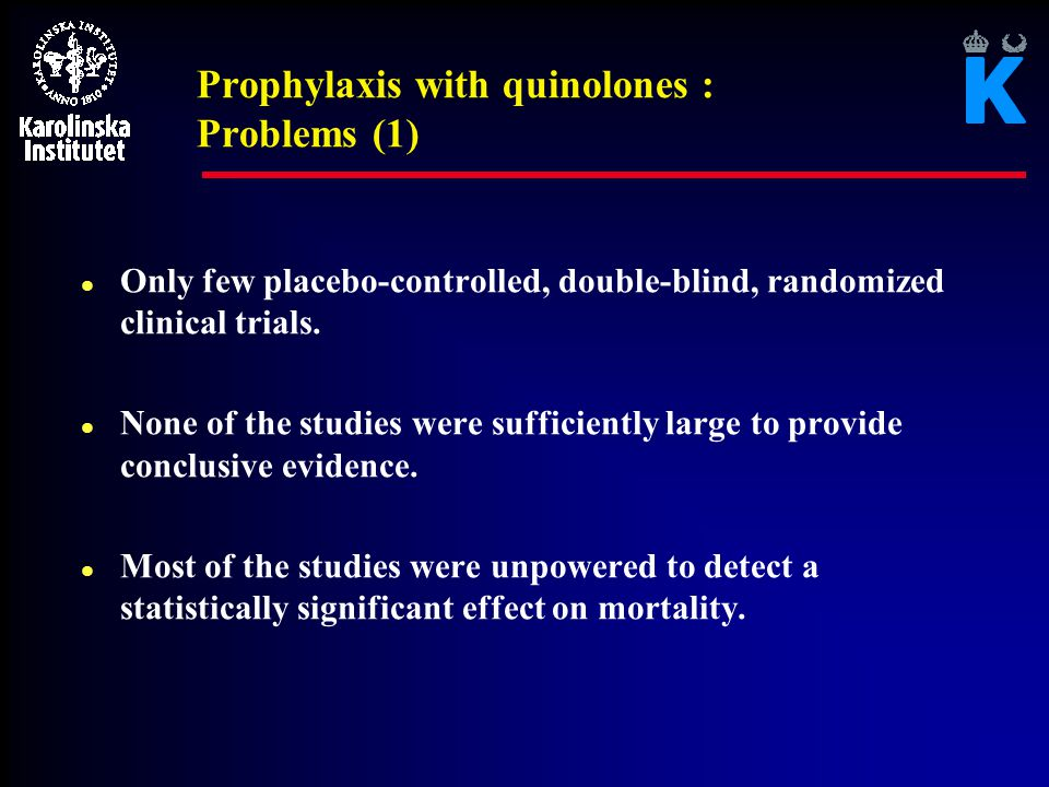 Prophylaxis with quinolones : Problems (1)