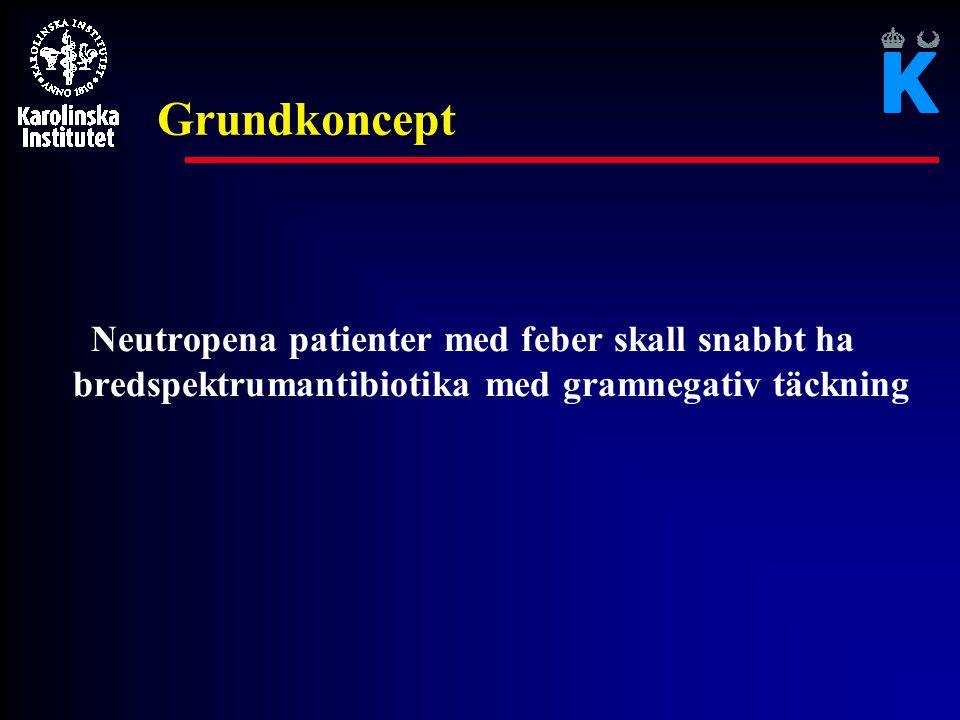 Grundkoncept Neutropena patienter med feber skall snabbt ha bredspektrumantibiotika med gramnegativ täckning.