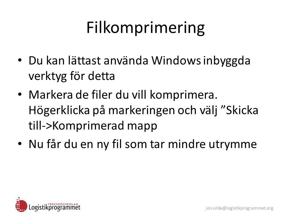 Filkomprimering Du kan lättast använda Windows inbyggda verktyg för detta.
