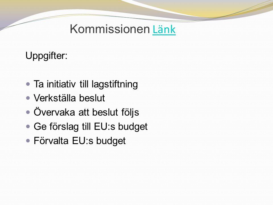 Kommissionen Länk Uppgifter: Ta initiativ till lagstiftning