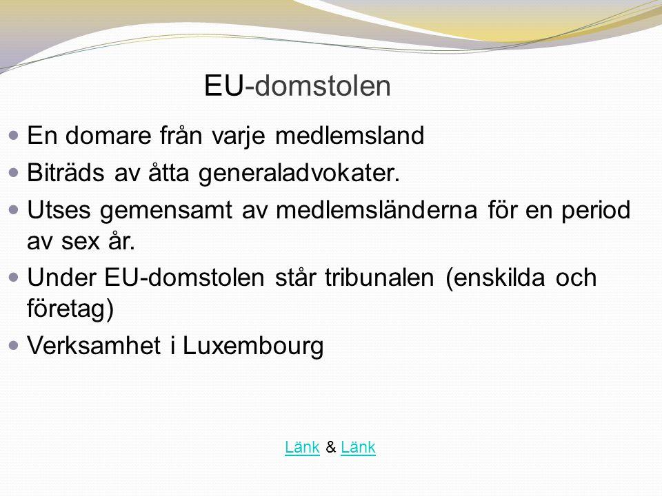 EU-domstolen En domare från varje medlemsland