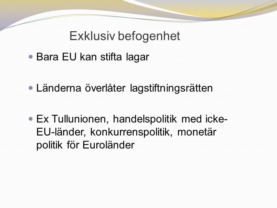 Exklusiv befogenhet Bara EU kan stifta lagar