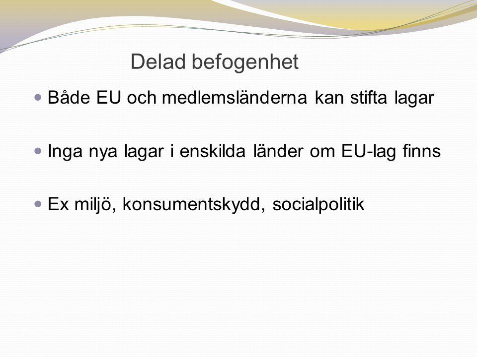 Delad befogenhet Både EU och medlemsländerna kan stifta lagar