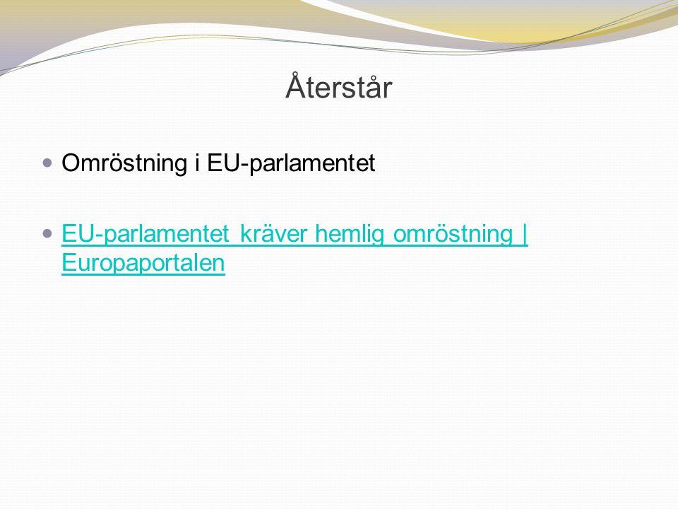 Återstår Omröstning i EU-parlamentet