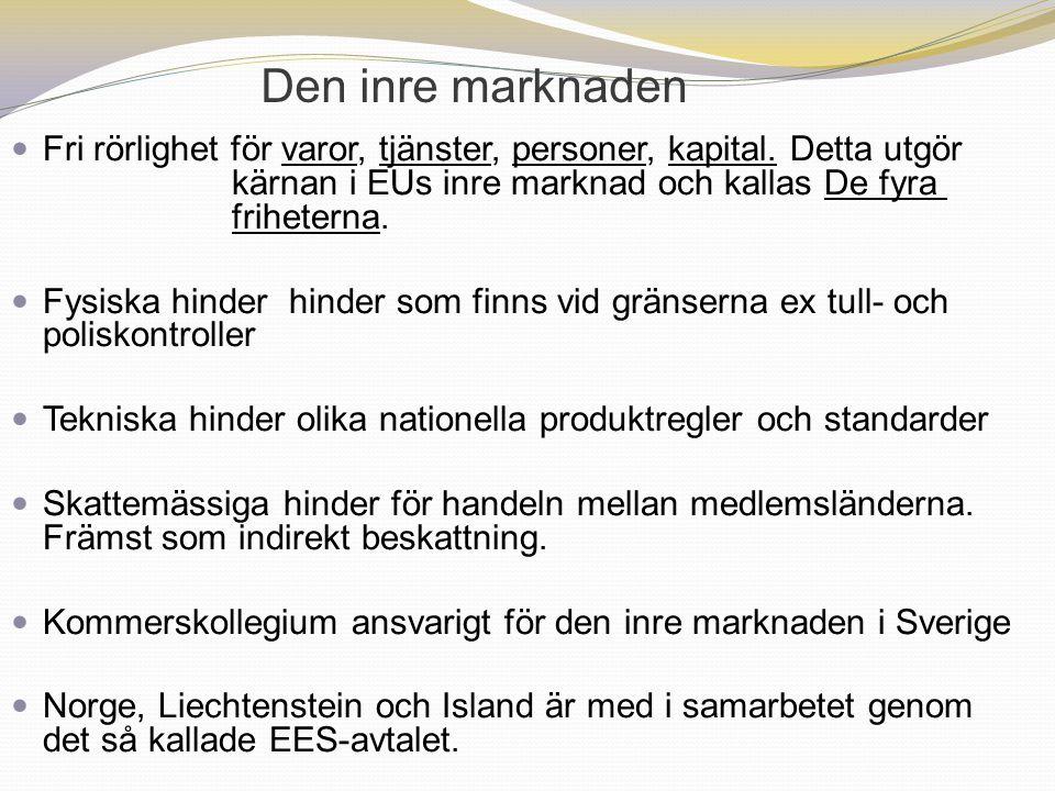 Den inre marknaden Fri rörlighet för varor, tjänster, personer, kapital. Detta utgör kärnan i EUs inre marknad och kallas De fyra friheterna.