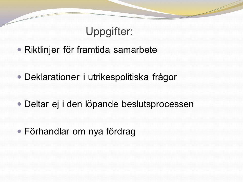Uppgifter: Riktlinjer för framtida samarbete