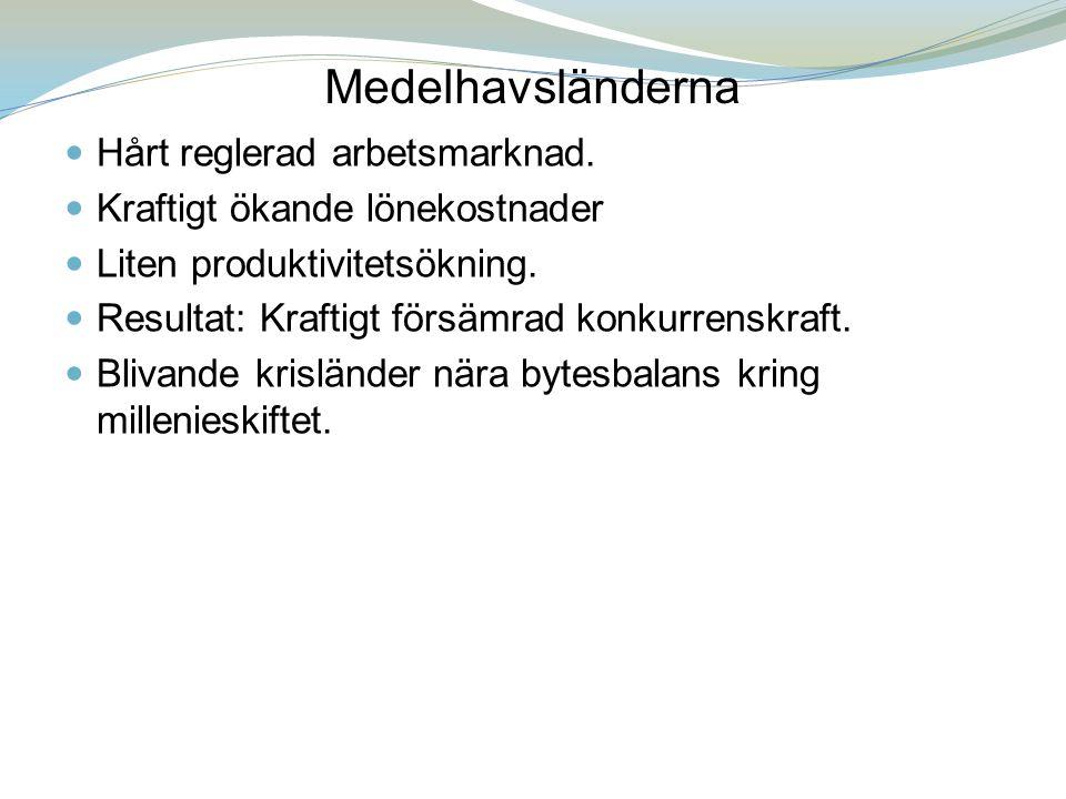 Medelhavsländerna Hårt reglerad arbetsmarknad.