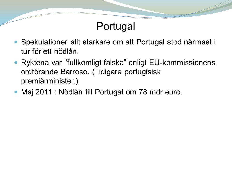 Portugal Spekulationer allt starkare om att Portugal stod närmast i tur för ett nödlån.