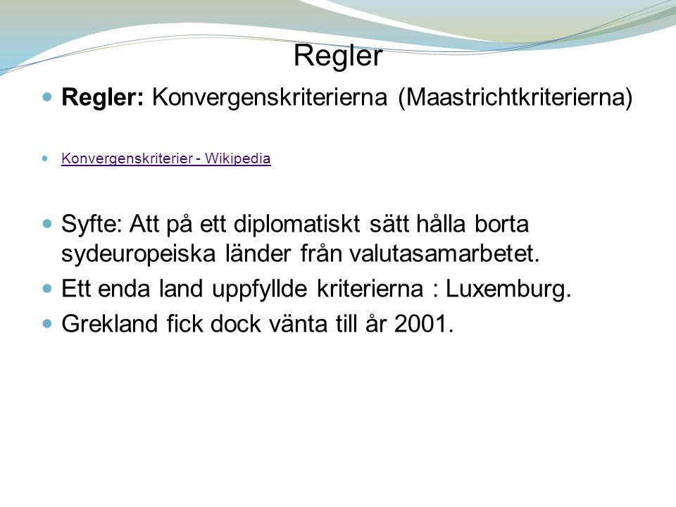 Regler Regler: Konvergenskriterierna (Maastrichtkriterierna)