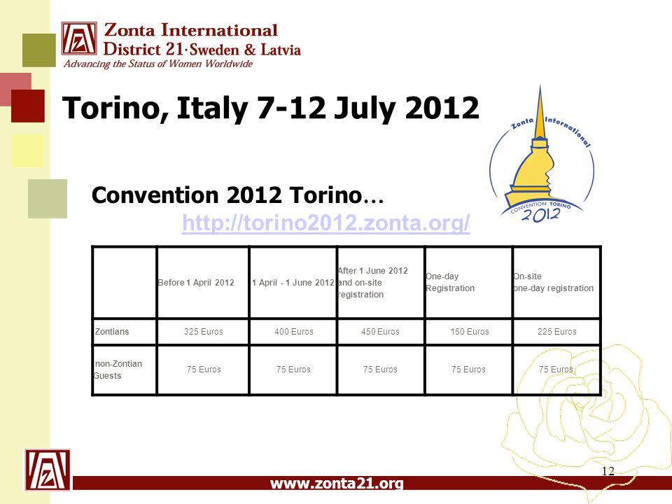 Torino, Italy 7-12 July 2012 Convention 2012 Torino… http://torino2012.zonta.org/ Before 1 April 2012.