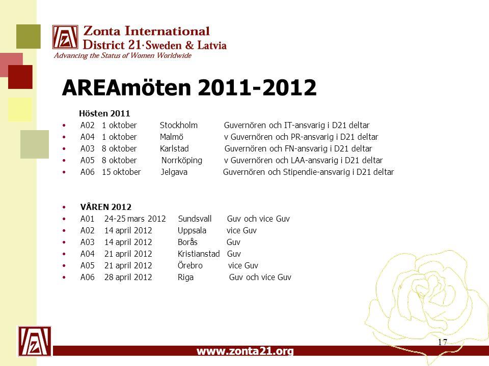 AREAmöten 2011-2012 Hösten 2011. A02 1 oktober Stockholm Guvernören och IT-ansvarig i D21 deltar.