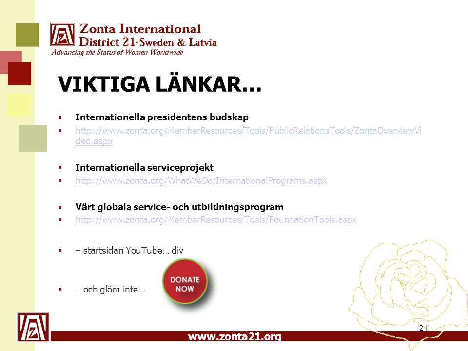 VIKTIGA LÄNKAR… Internationella presidentens budskap