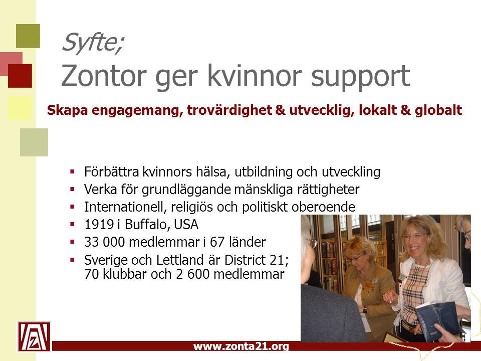 Syfte; Zontor ger kvinnor support