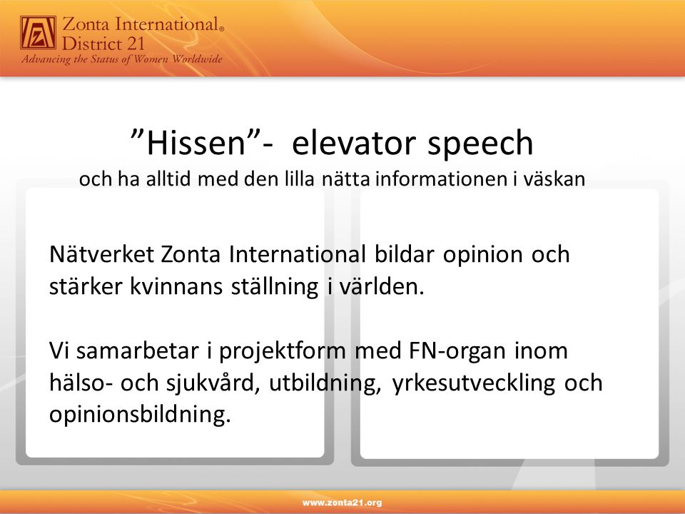 Hissen - elevator speech