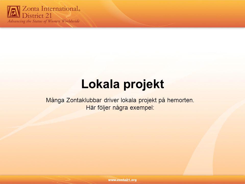 Lokala projekt Många Zontaklubbar driver lokala projekt på hemorten. Här följer några exempel: