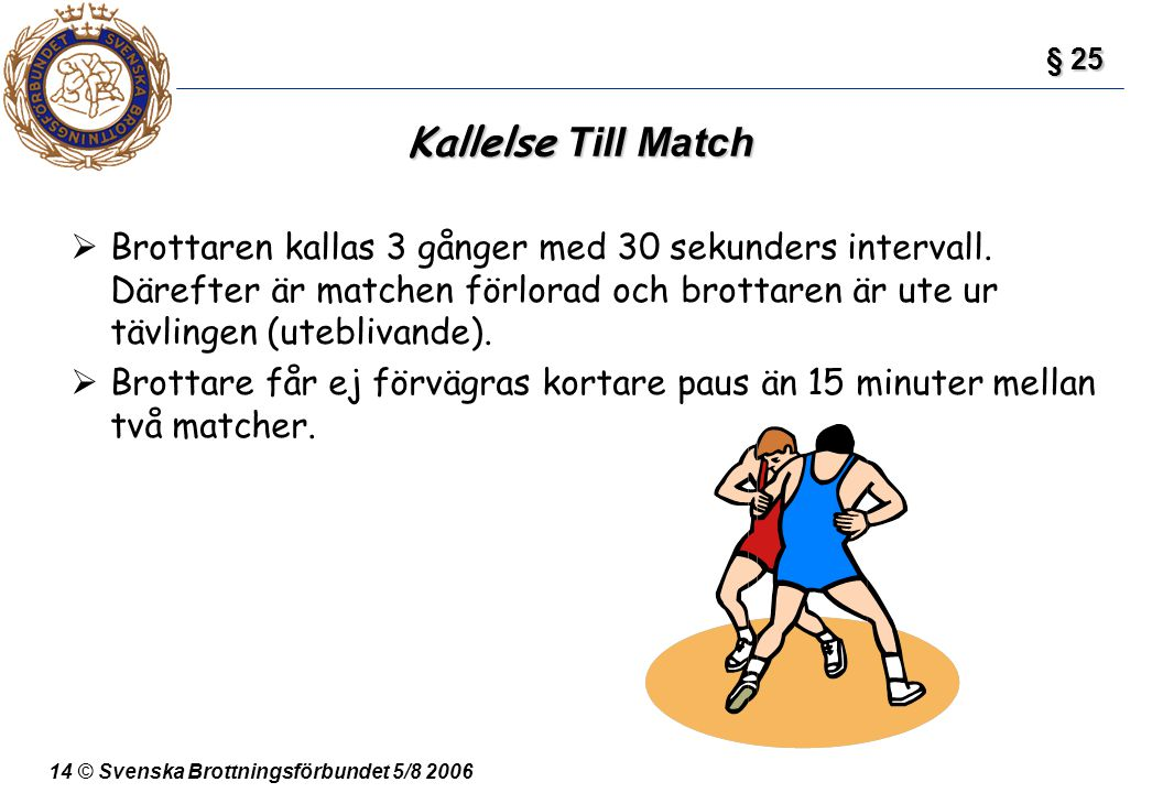 § 25 Kallelse Till Match.