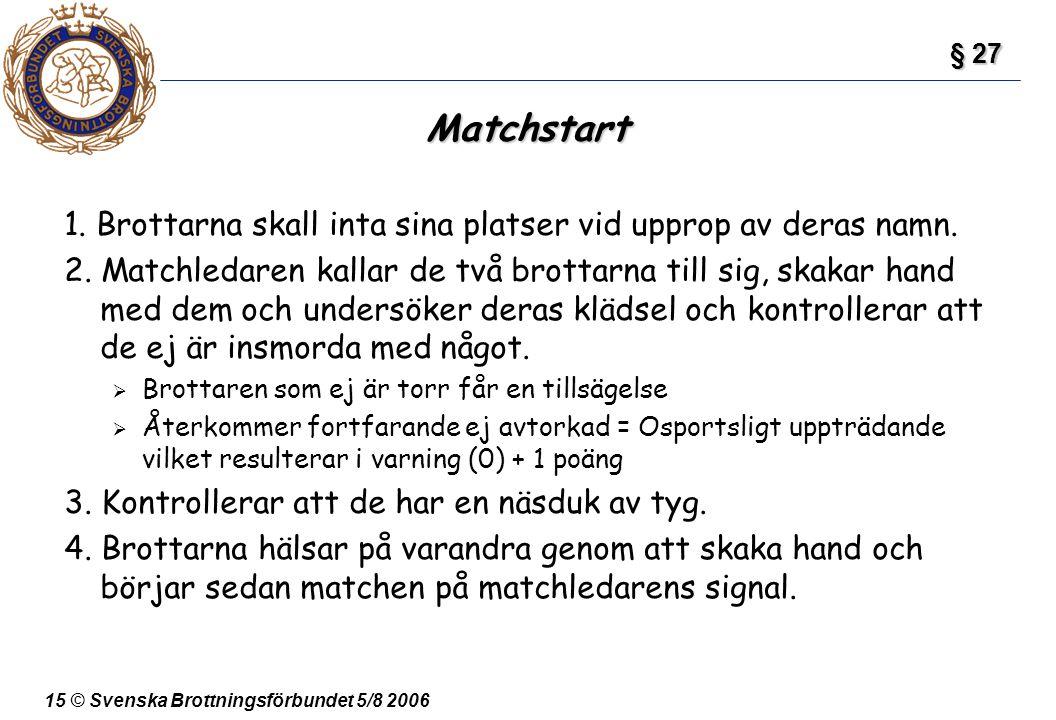 § 27 Matchstart. 1. Brottarna skall inta sina platser vid upprop av deras namn.