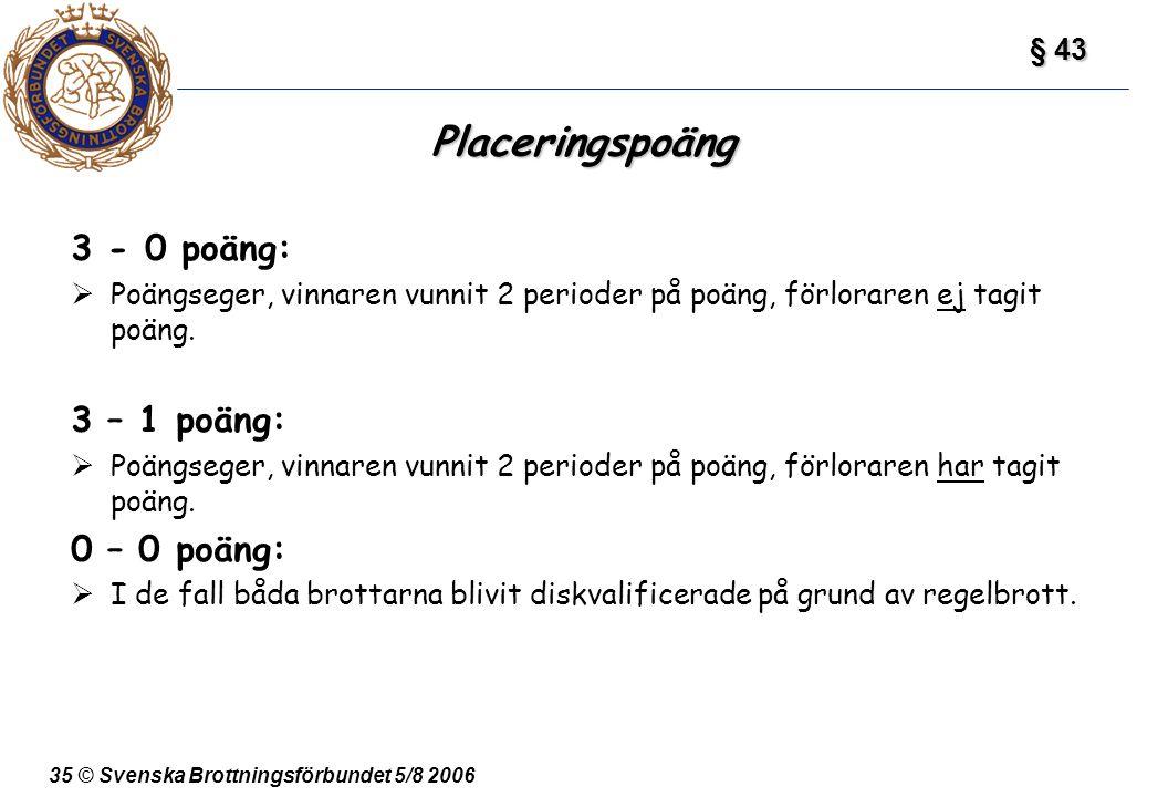 Placeringspoäng 3 - 0 poäng: 3 – 1 poäng: 0 – 0 poäng: § 43