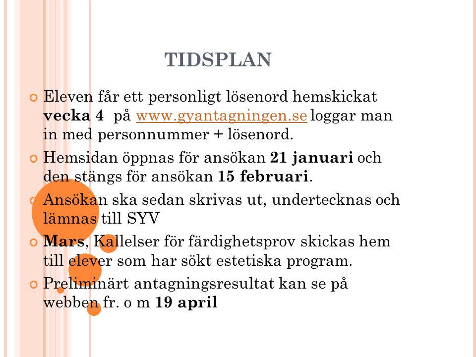 tidsplan Eleven får ett personligt lösenord hemskickat vecka 4 på www.gyantagningen.se loggar man in med personnummer + lösenord.