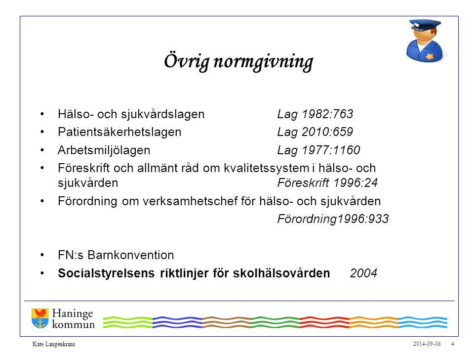 Övrig normgivning Hälso- och sjukvårdslagen Lag 1982:763