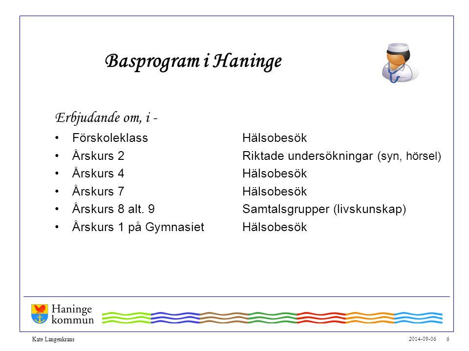 Basprogram i Haninge Erbjudande om, i - Förskoleklass Hälsobesök