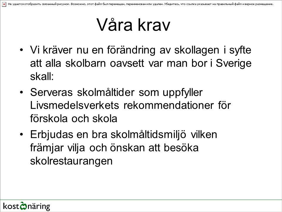 Våra krav Vi kräver nu en förändring av skollagen i syfte att alla skolbarn oavsett var man bor i Sverige skall: