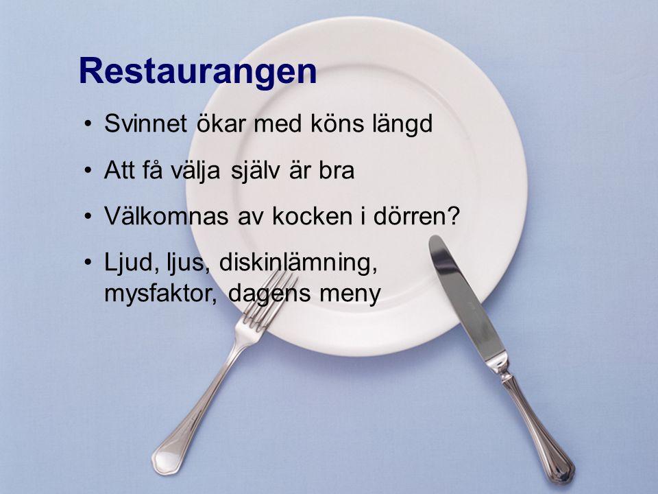 Restaurangen Svinnet ökar med köns längd Att få välja själv är bra