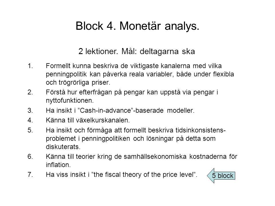 Block 4. Monetär analys. 2 lektioner. Mål: deltagarna ska