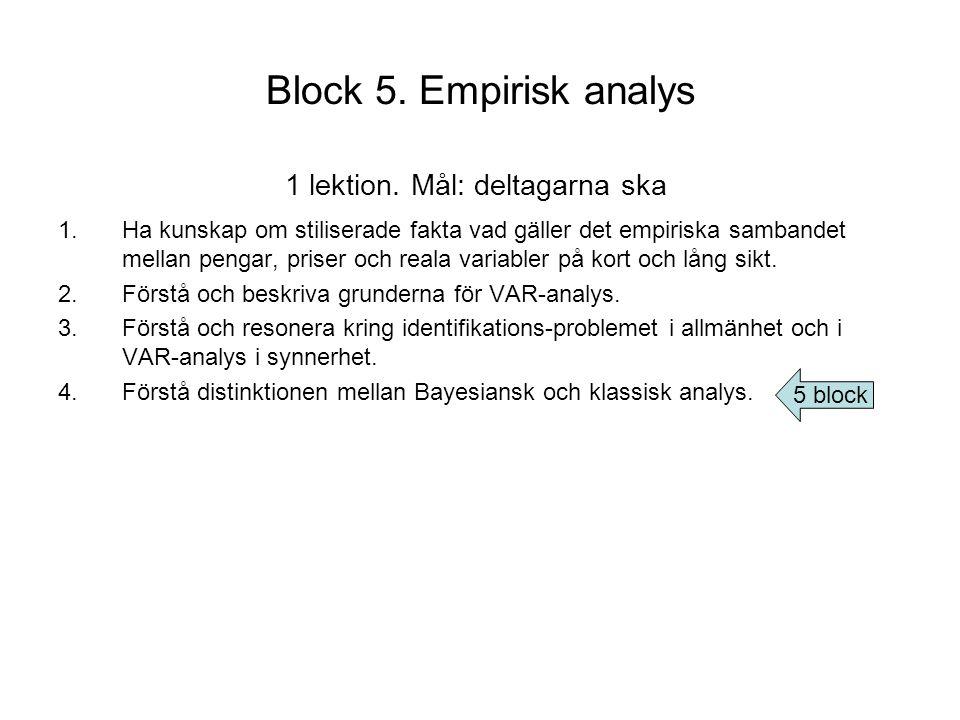 Block 5. Empirisk analys 1 lektion. Mål: deltagarna ska