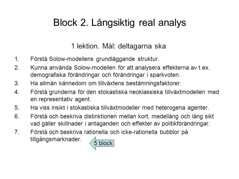 Block 2. Långsiktig real analys