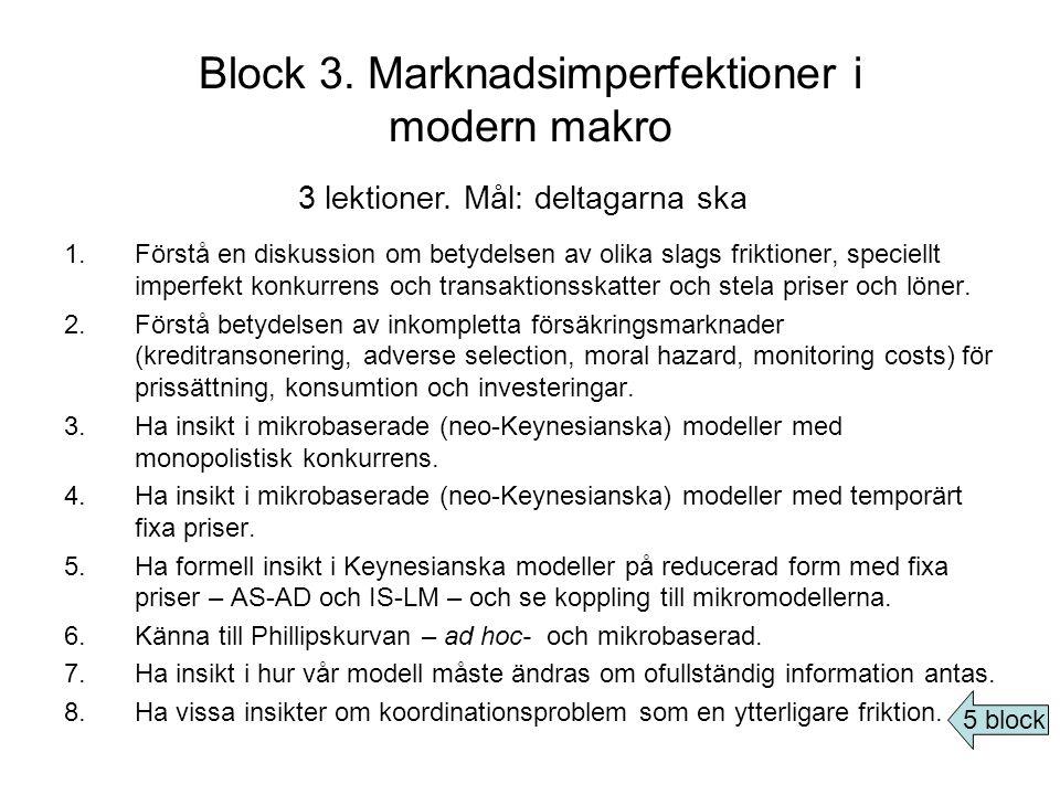 Block 3. Marknadsimperfektioner i modern makro