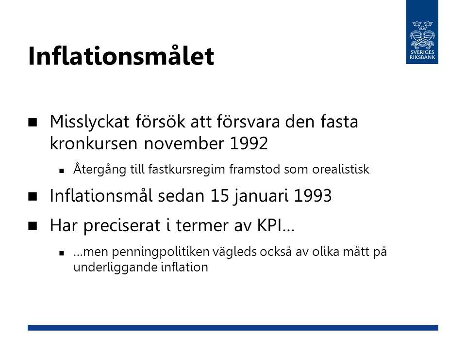 Inflationsmålet Misslyckat försök att försvara den fasta kronkursen november 1992. Återgång till fastkursregim framstod som orealistisk.