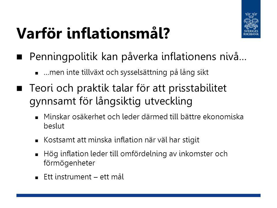 Varför inflationsmål Penningpolitik kan påverka inflationens nivå…