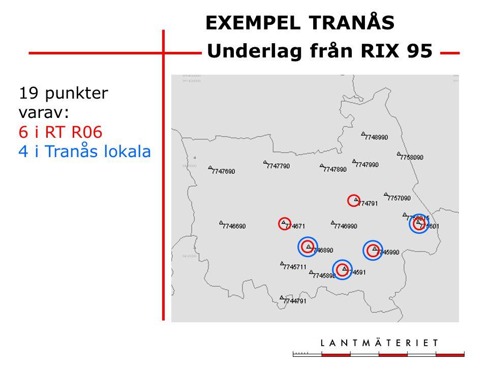 EXEMPEL TRANÅS Underlag från RIX 95 19 punkter varav: 6 i RT R06